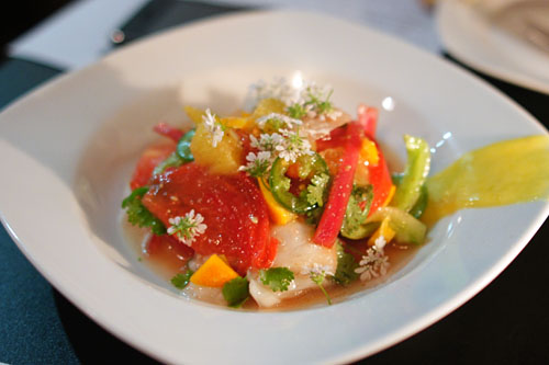 Snapper Ceviche, Heirloom Tomato, Jalapenos, Red Onions, Meyer Lemon Paste, Olive Oil