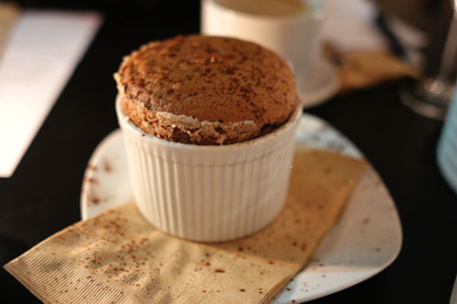Dark Chocolate Soufflé, Vanilla - Whisky Ice Cream, Hot Chocolate Cream