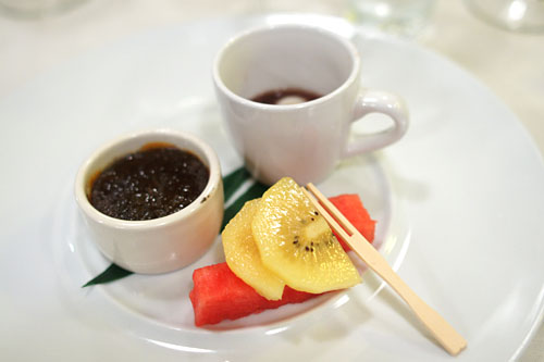 Sesame Crème Brûlée and Sesame Mochi with Azuki Bean