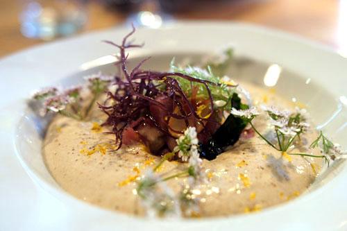 Veal Tartar, Oysters, Almond Oil, Seaweed, Tonnato Sauce