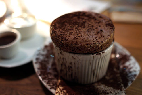 Dark Chocolate Soufflé, Vanilla Whipped Cream, Hot Chocolate Cream