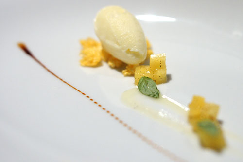 Pre-Dessert: Pineapple Sorbet | Pineapple Cubes, Orange Crunch