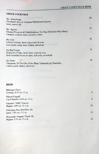 Grace Cocktail/Beer List