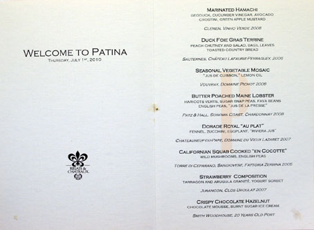 Patina Chef's Table Menu