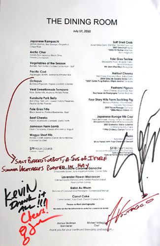 The Dining Room Menu