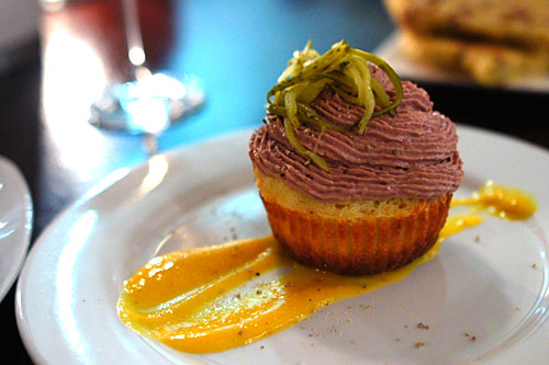 Cheese Cupcake, Chicken Liver & Ham Mousse, Kumquats, Cornichon