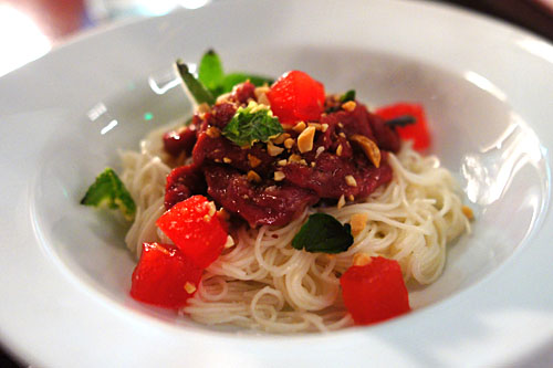 Raw Wagyu Beef, Dried Miso, Somen Noodle, Peanut Vinaigrette, Candied Watermelon, Mint