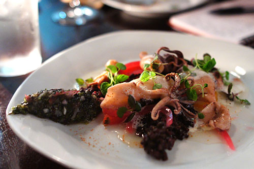 Grilled Squid, Heirloom Tomato Salad, Black Rice, Yuzu Red Onions, Umami Broth & Seaweed Tartar