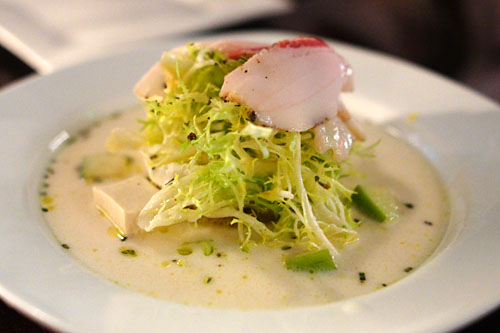Goat Cheese Soup, Bacon, Lardo, Tofu, Green Apple Frisée Salad