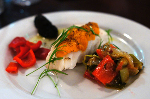 Day Boat Cod, Torched Uni, Ratatouille, Red Bell Pepper Pickles, Black Curry