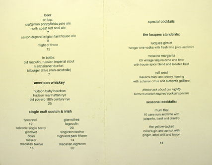 Lucques Drink Menu