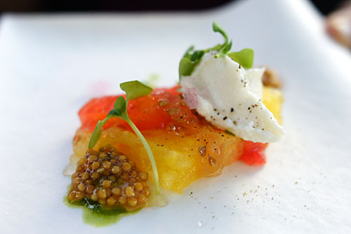 Heirloom tomato and watermelon terrine