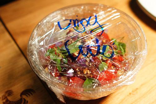 Raw Waygu Beef, Dried Miso, Somen Noodle, Peanut Vinaigrette, Candied Watermelon, Mint