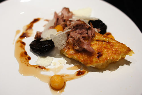 milk braised pork shoulder. maple french toast. blis maple. coffee sorghum poached prunes. coffee sorghum sauce. glazed rutabaga. dehydrated milk flakes.