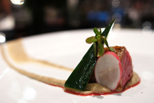 lamb. eggplant sheep yogurt puree. radish. compressed cucumber. purslane.