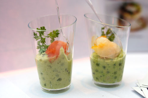 Sweet Pea Tapioca with Smoked Salmon