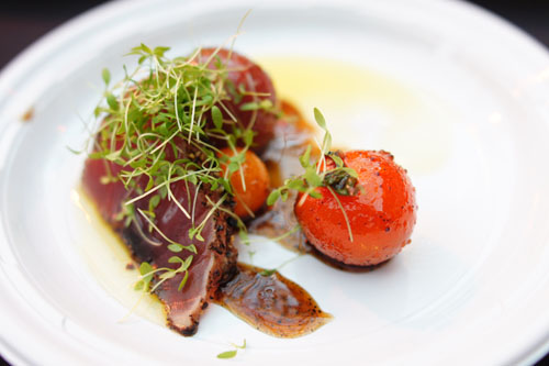 Pepper Crusted Yellow Fin Tuna, Sweet and Spicy Heirloom Cherry Tomatoes with Star Anise Essence