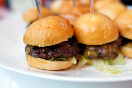 Green Chili Burger Sliders, Roasted Poblano Chilies, Grated Sharp Cheddar