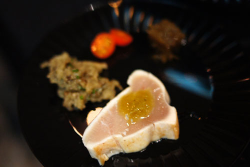 Seared Albacore Tuna Sashimi with Soy Glaze, Japanese Eggplant Caviar and Mozuku Aspic