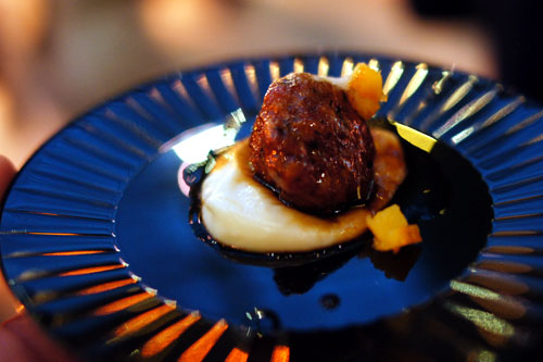 Pomegranate Glazed Duck Meatballs, Parsnip Puree, Orange Essence