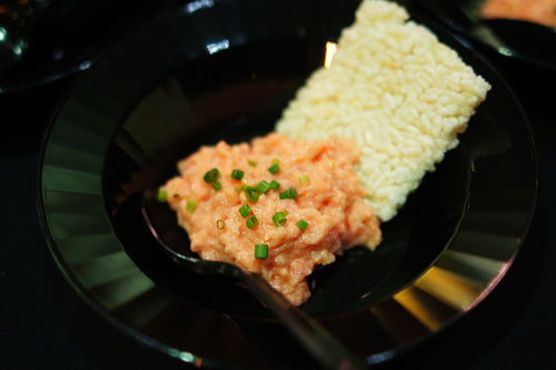 Spicy Tuna Dip on Crispy Rice Cracker