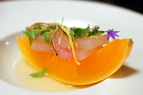 cured AMBERJACK, lime leaf, french melon, nuoc cham, bird chili, mint
