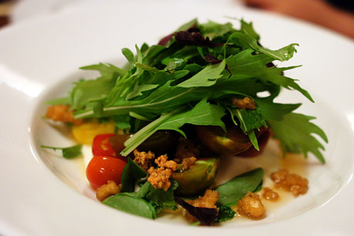 TOMATOES marinated in an infusion of their vines, silky tofu, crunchy tofu, herbs