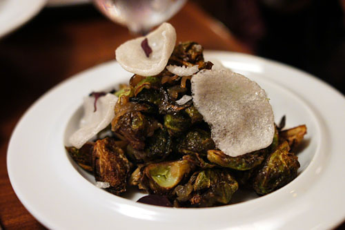 BRUSSELS sprouts, caramelized shallots, fish sauce, prawn crackers