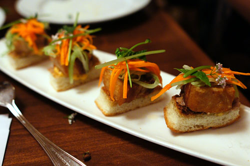 saigon tartine- PORK belly, pâté, coriander, carrot pickle, green chili