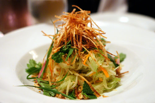 Green papaya, crispy taro, rau ram, fried shallots, peanuts