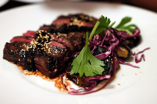 BEEF bavette, bacon X.O., chinese eggplant, chinese celery, lime, palm sugar, sesame