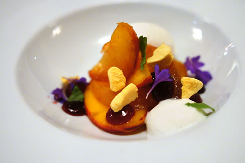PEACHES, crème de cassis, raspberry, condensed milk