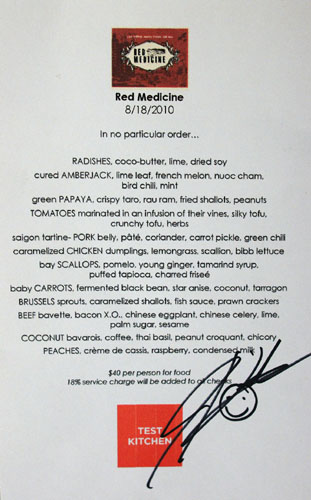 Test Kitchen (Jordan Kahn) Menu