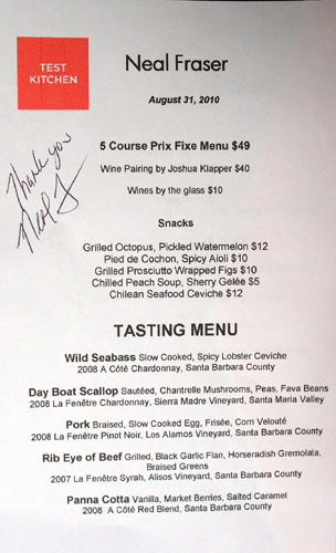 Test Kitchen (Neal Fraser) Menu