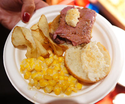 Prime Rib Sliders / Cream Corn / Homemade Potato Chips
