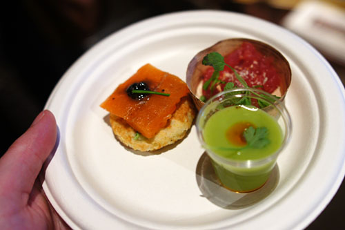 Avocado Tapioca Shooter / Ahi Tuna Chop Chop / Smoked Salmon on Potato Pancakes