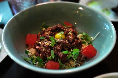 Raw Wagyu Beef, Somen Noodle, Peanut Vinaigrette, Watermelon