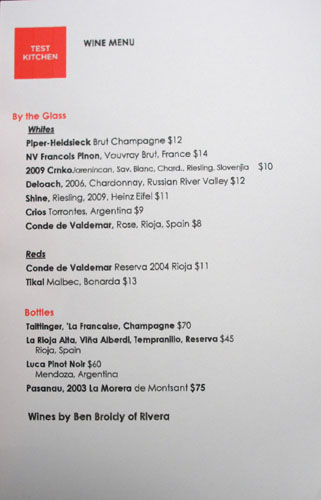 Test Kitchen (Vartan Abgaryan) Wine List