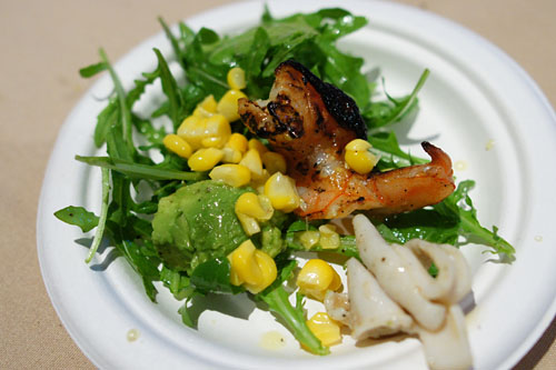 Grilled Shrimp and Squid with Arugula, Corn, and Lemon Dressing