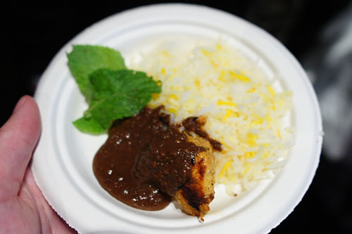 Grilled Chicken with Walnut-Pomegranate Sauce and Saffron Rice