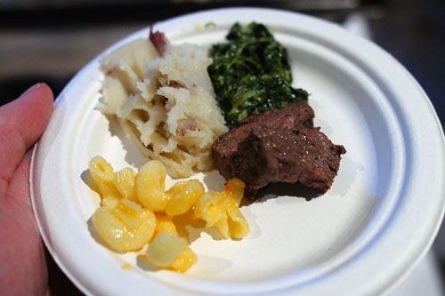 Rib Eye of Beef with Mashed Potatoes, Creamed Spinach, and Macaroni & Cheese