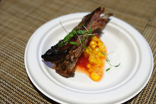 Lamb Ribs with Corn and Watermelon