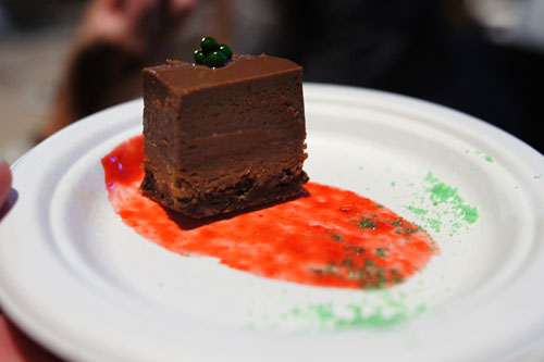 Chocolate Torte with Raspberry Coulis and Herb Caviar
