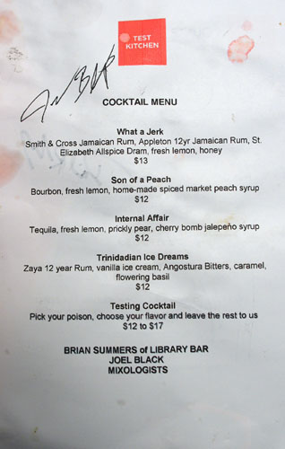 Test Kitchen (Young Team) Cocktail List