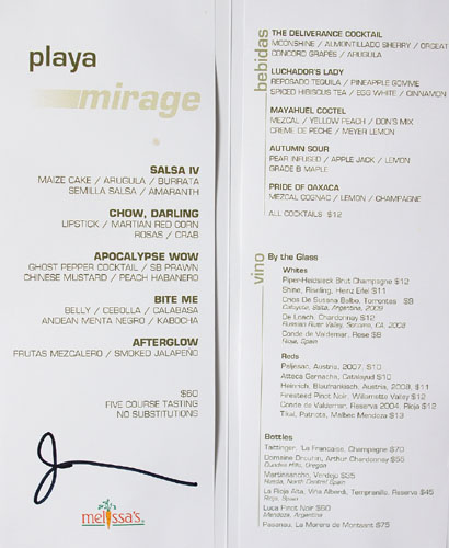 Test Kitchen (John Rivera Sedlar) Menu