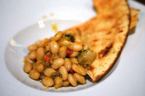 pane guttiau with white beans and bottarga