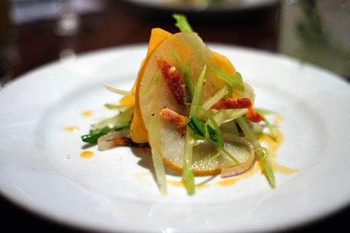 A nice salad, fennel, persimmon, celery, chorizo