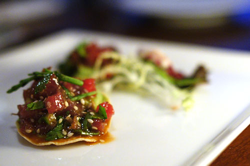 blue fin tuna and dried beef machaca tostada