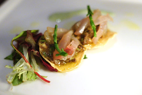 smoked marlin and tapenade/guacamole tostada
