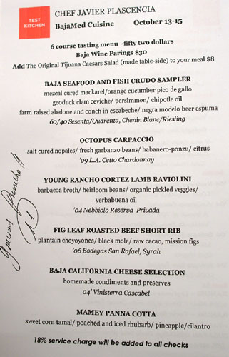Test Kitchen (Javier Plascencia) Menu